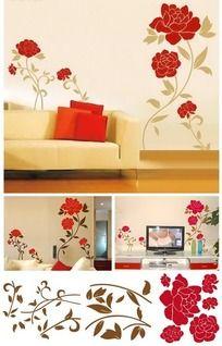电视背景墙墙贴 牡丹花