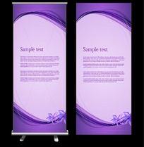 紫色花朵矢量展板模版