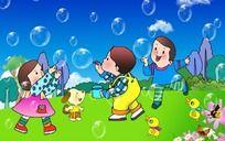 好多泡泡 幼儿园素材图片 PSD