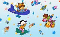 太空旅行 儿童飞船卡通画