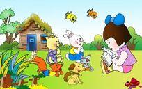 讲故事 儿童卡通插画 PSD