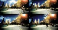 城市公园人流光线背景视频