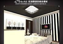 现代卧室3d模型源文件