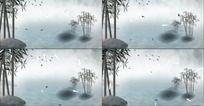 中国风竹叶水墨动态视频素材
