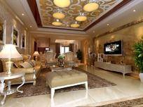 欧式风格客厅配套模型