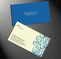 蓝色花纹名片设计