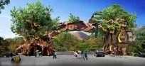 风景区生态景观大门效果图 PSD