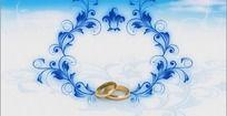 高清婚庆动感戒指蓝色花纹视频素材