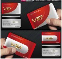 红色创意VIP卡模板金属质感会员卡