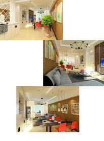原创现代简约混搭风格客厅max模型