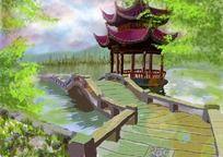 杭州西湖鼠绘画 PSD