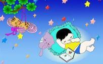 睡的真香的小朋友卡通图psd