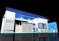 蓝色科技企业展位3D设计模型 max