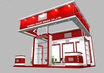 红色汽车配件产品展会展台3d模型设计