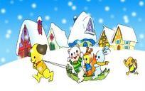 小动物滑雪橇卡通ps素材