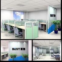办公室模型效果图
