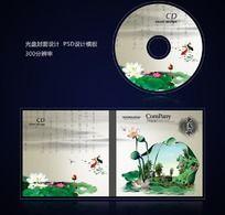 水墨荷花中国风光盘设计psd
