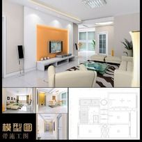 整体家装3d模型施工图