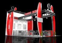 红黑色工业企业展台特装max模型设计 max