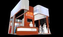 橙色婚纱展厅3d模型设计