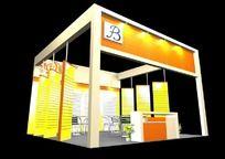 橙色展厅3d模型设计
