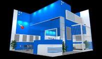 方形蓝色科技产品展厅max模型