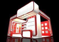 红色家电展厅3d模型设计