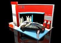红色汽车展台max模型设计