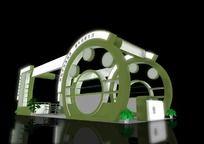 墨绿色工业品展台特装设计模型 max