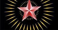 红星闪闪五角星动态片头片尾视频素材