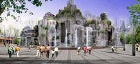 文化广场假山效果图方案