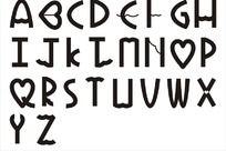 26个英文字母心形字矢量图