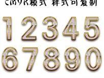 金边钻石数字 ps数字字体设计