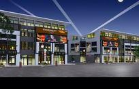 体现夜景广告、灯光和墙体颜色效果模型
