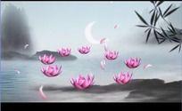 中国风流水荷花竹叶弯月山影高清视频背景素材