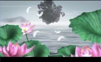 中国风山水动画荷花滴墨高清视频背景素材