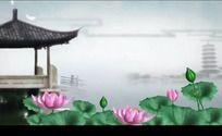 中国风山水动画荷花古塔小桥高清视频背景素材