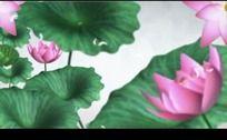 中国风山水动画荷花盛开高清视频背景素材