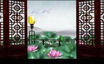 中国风山水动画荷花仙鹤画廊高清视频背景素材