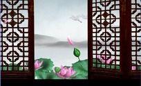 中国风山水动画画廊荷花仙鹤高清视频背景素材
