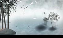 中国风山水动画竹叶飞鸟高清视频背景素材