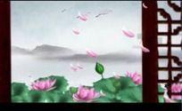 中国风水墨山水荷花花瓣高清视频背景素材
