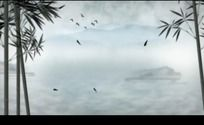 中国风水墨竹叶飞鸟高清视频背景素材