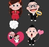 创意婚礼卡通人物素材POPO MOMO AI