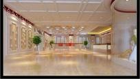 服装厂前台大厅设计max模型 展厅设计 过道3d模型