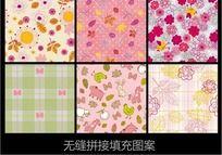 甜美花纹布纹矢量图