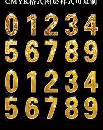 0-9金质感数字ps字体设计 PSD