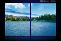 湖畔风景无框画