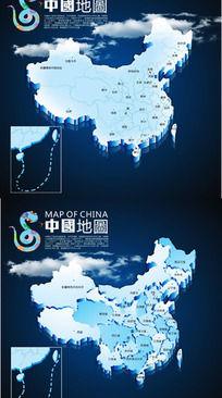 中国地图 全国地图cdr立体效果图