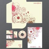 经典粉色花纹VI设计